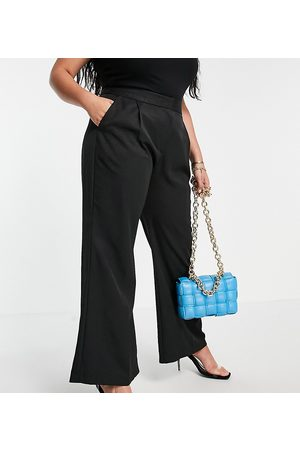Closet Slouchy flare tailored trouser in black