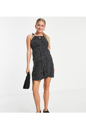 Pieces Maternity Cami playsuit in black spot