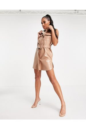 Love & Other Things PU shirt dress in