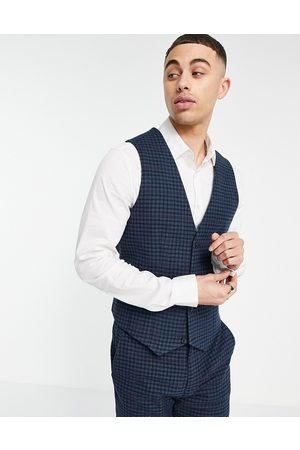 ASOS Super skinny wool mix suit waistcoat with multi grid check in navy
