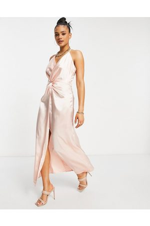 Jaded Rose Twist front satin midaxi dress in pink