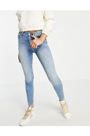 True Religion Halle high rise exposed button straight leg jeans in 5 am light