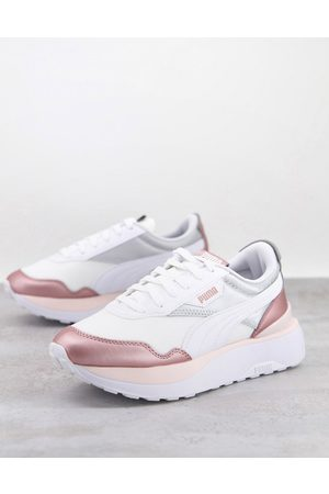 PUMA Cruise Rider Metal trainers in white and rose gold