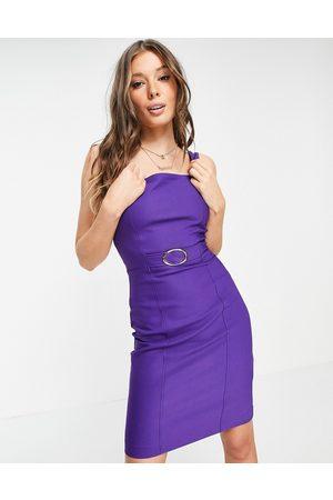 Morgan Belted midi dress in purple