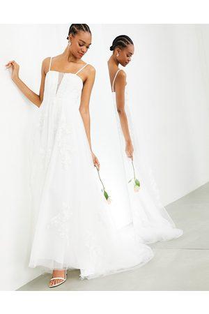 ASOS Margot super plunge floral embroidered wedding dress with skinny straps