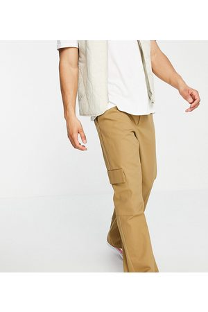 COLLUSION Straight leg cargo trousers in stone