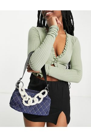Ego Shoulder bag with quilt and pearl links in blue