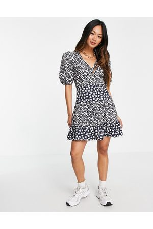 French Connection Puff sleeve ditsy floral mini dress in blue