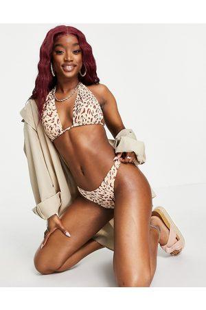 Cotton On Gathered Brazilian bum bikini bottoms co ord in leopard