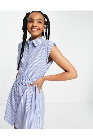 Influence Belted waist shirt dress in stripe with shoulder pads