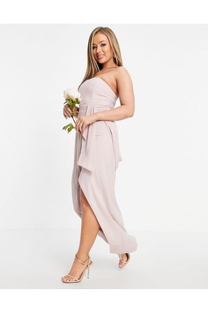 TFNC Bridesmaid bandeau wrap midaxi dress with pleated detail in mink
