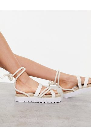 Truffle Collection Chunky tie leg espadrille sandals in