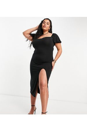 Missguided Milkmaid midaxi dress with split in black