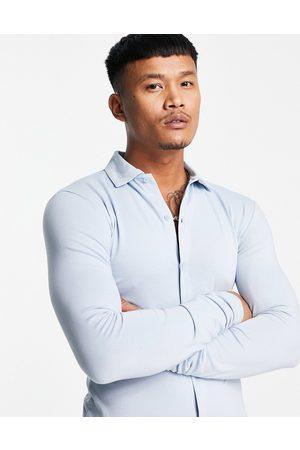 ASOS Organic long sleeve button through jersey shirt in blue