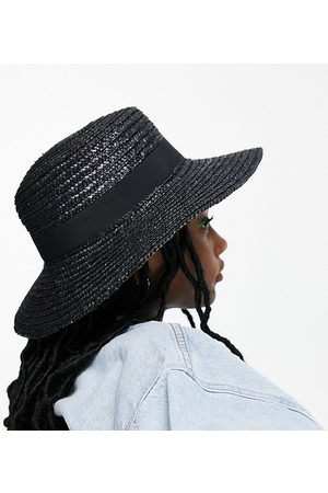 South Beach Exclusive straw boater hat in black