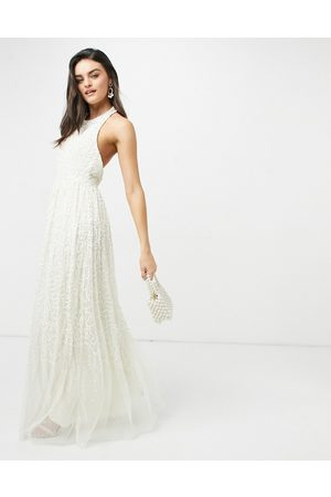 Maya Halterneck open back all over sequin maxi dress in ecru