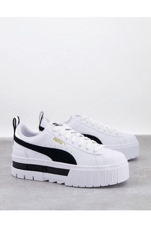 PUMA Mayze platform trainers in white and black
