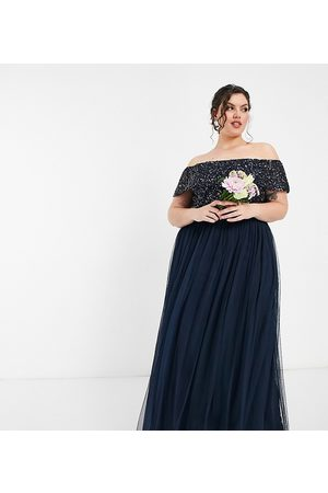 Maya Bridesmaid off shoulder maxi tulle dress with tonal delicate sequin in navy
