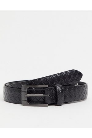 ASOS Slim belt in black faux leather with weave emboss