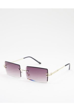 My Accessories London rimless rectangle sunglasses with smoky lens