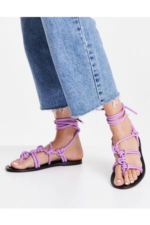 ASRA Shobha knotted flat sandals with ankle ties in lilac leather