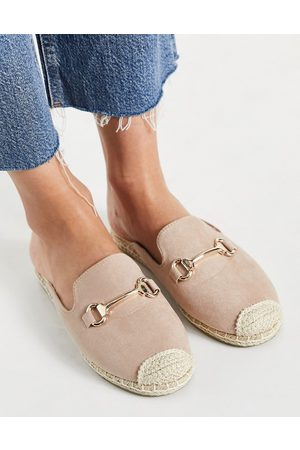London Rebel Espadrille mules with saffle trim in