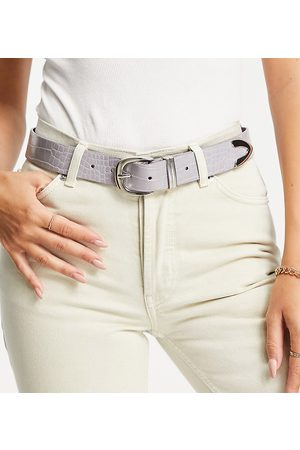 Glamorous Exclusive belt in lilac croc with silver tip