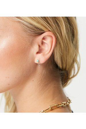 Kingsley Ryan Stud earrings in sterling silver gold plate with green stone and faux ear cuff