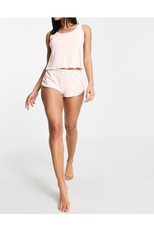 Dorina Melody ribbed cami and short set with lettuce edge in pink