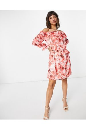 VILA Off shoulder mini dress in abstract red floral