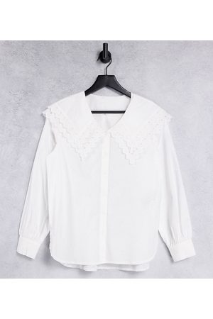 Pieces Maternity Oversized collar shirt in white