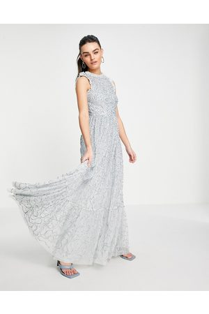 Maya All over embellished maxi dress with lace top in ice blue