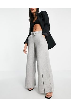 Lasula Wide leg joggers with zip front co ord in grey