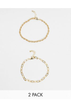 DesignB London Exclusive anklet multipack in gold with twisted and chunky chains