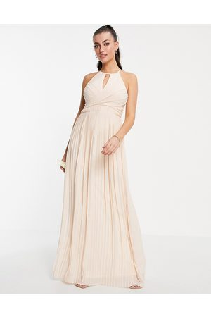 TFNC Bridesmaid pleated wrap detail maxi dress with cut out in light blush