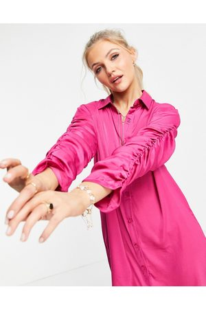 Lola May Ruched sleeve shirt dress in hot pink