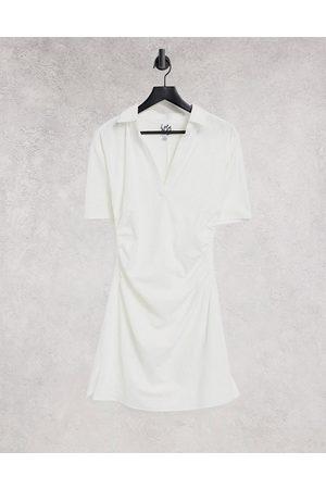Lola May Gathered waist v neck mini dress in white
