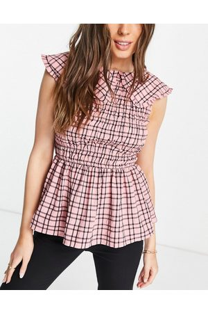 River Island Shirred gingham check collared top in pink