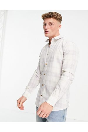Only & Sons Long sleeve check shirt in lilac