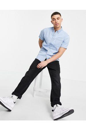 New Look Short sleeve denim shirt in light blue
