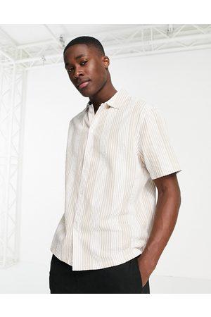 River Island Short sleeve seersucker stripe shirt in ecru