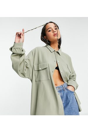 COLLUSION Unisex oversized jersey shirt in heavy rib fabric in stone