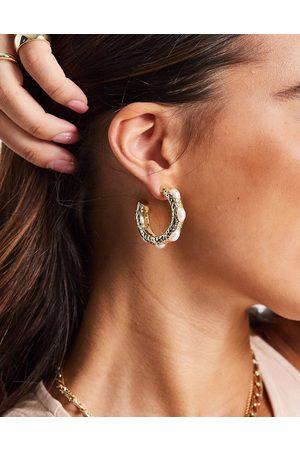 ASOS Hoop earrings with faux pearl in gold tone