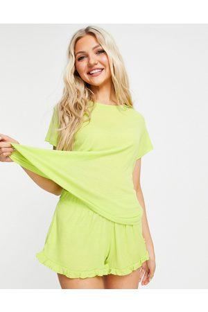 Chelsea Peers Mujer Pijamas - Ribbed Jersey pyjama set in green