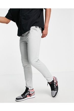 ASOS Skinny chinos with elasticated waist in light grey