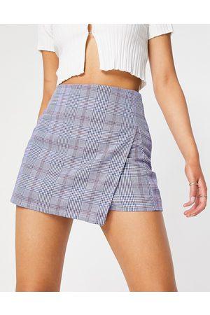 Flounce London Mujer Shorts - Skort in blue plaid