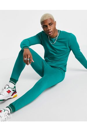 ASOS Organic tracksuit with striped rib in green