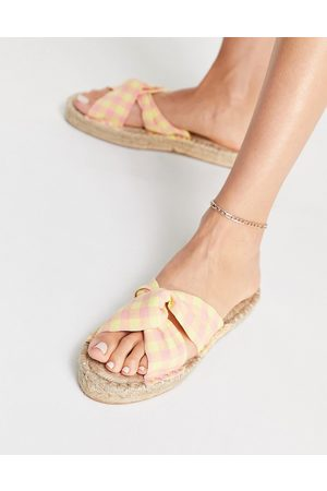 ASOS Jolly knotted mule espadrille in yellow and pink gingham