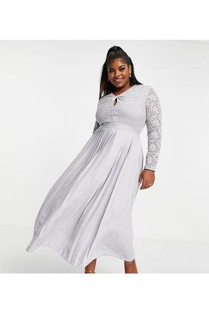 Little Mistress Lace top twist detail pleated skater midi dress in dove grey