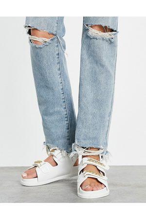 Public Desire Mujer Sandalias - Ellis chunky sandals with chain trim in white croc
